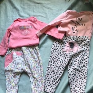 2 Carters long sleeve outfits